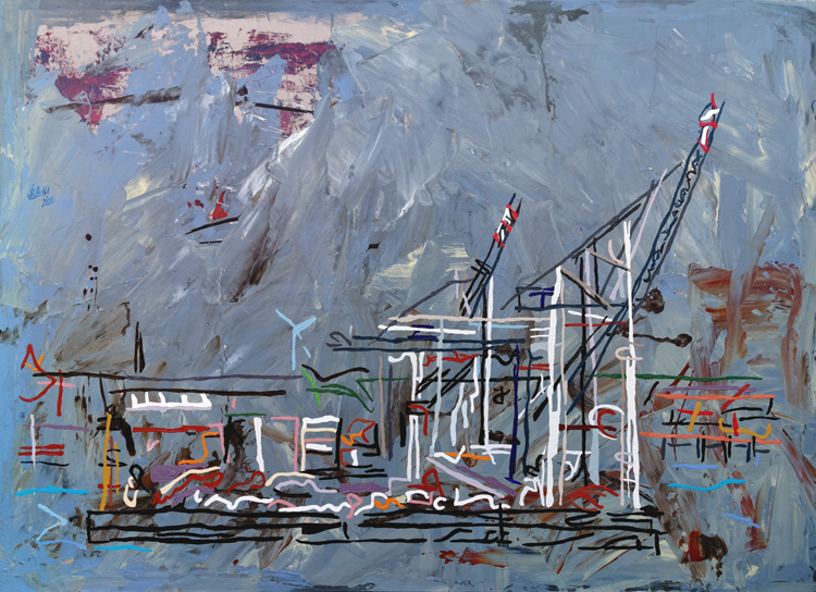XXV 16 - View of the TollerOrt container terminal in Hamburg