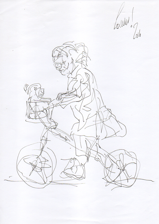 DR 42 - Little girl with sunglasses on a wheel with Teddy (III)